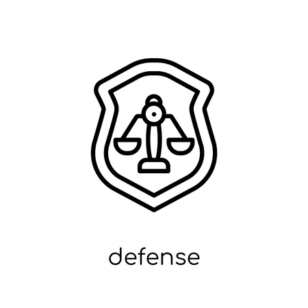 Defense icon. Trendy modern flat linear vector Defense icon on white background from thin line law and justice collection, editable outline stroke vector illustration