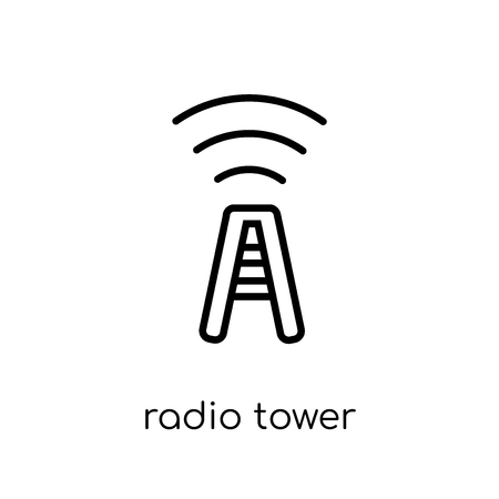 Radio tower icon. Trendy modern flat linear vector Radio tower icon on white background from thin line Maps and Locations collection, editable outline stroke vector illustration