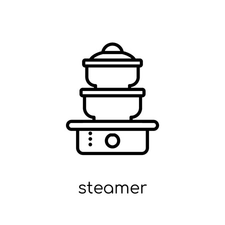steamer icon. Trendy modern flat linear vector steamer icon on white background from thin line Kitchen collection, outline vector illustration Illustration