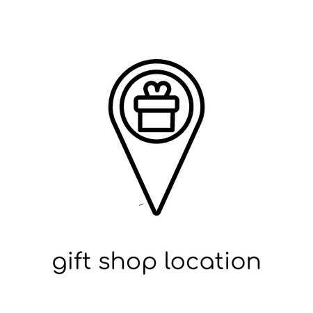 Gift shop Location icon. Trendy modern flat linear vector Gift shop Location icon on white background from thin line Maps and Locations collection, editable outline stroke vector illustration