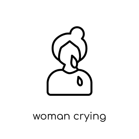 Woman Crying icon. Trendy modern flat linear vector Woman Crying icon on white background from thin line Ladies collection, editable outline stroke vector illustration