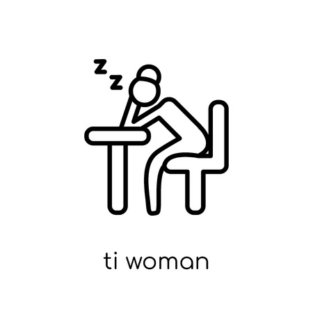 Tired Woman icon. Trendy modern flat linear vector Tired Woman icon on white background from thin line Ladies collection, editable outline stroke vector illustration Illustration