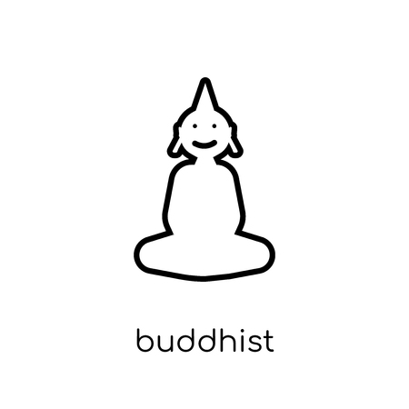 buddhist icon. Trendy modern flat linear vector buddhist icon on white background from thin line india collection, editable outline stroke vector illustration Çizim