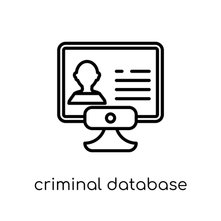 Criminal database icon. Trendy modern flat linear vector Criminal database icon on white background from thin line law and justice collection, editable outline stroke vector illustration