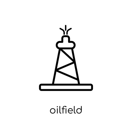 oilfield icon. Trendy modern flat linear vector oilfield icon on white background from thin line collection, outline vector illustration Illustration
