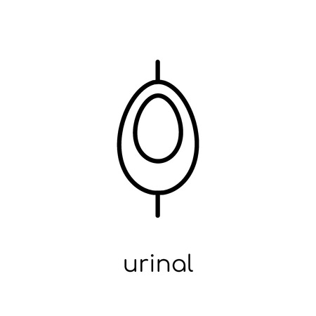 urinal icon. Trendy modern flat linear vector urinal icon on white background from thin line collection, outline vector illustration Vectores
