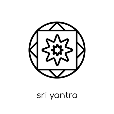 sri yantra icon. Trendy modern flat linear vector sri yantra icon on white background from thin line Geometry collection, outline vector illustration Illustration
