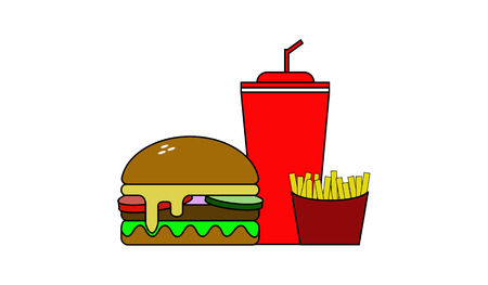 Burger with French fries and a sweet drink