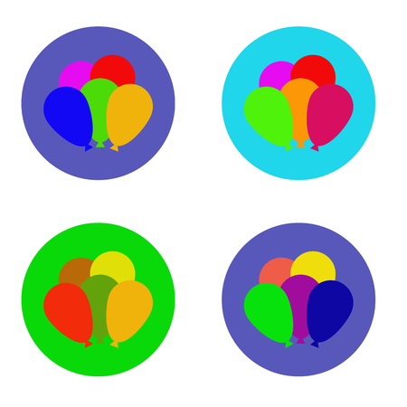 Multi colored balloons in colorful circle icons Vector illustration. Illustration