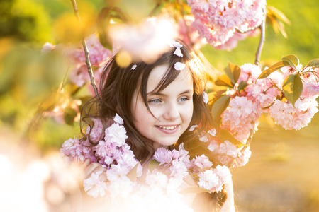 little colours: Small brunette girl looking away standing amid pink japanese cherry blooming in broad daylight in the park, horizontal picture Stock Photo