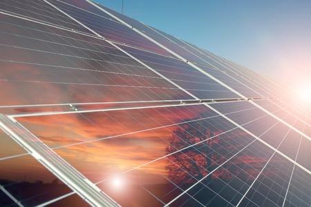 Batteria solare con la riflessione di tramonto arancione con albero sul cielo blu chiaro con il punto culminante di sfondo, immagine orizzontale Archivio Fotografico - 41748672
