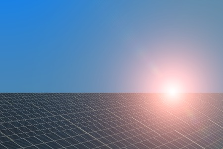 solarcell: Solar panel with highlight on unflawed blue sky background copyspace, horizontal picture Stock Photo