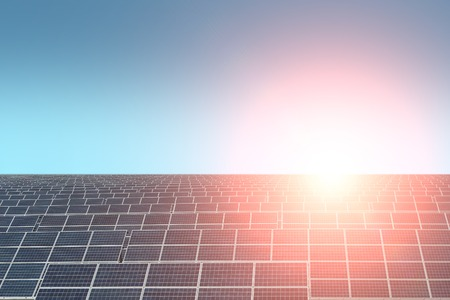 solarcell: Solar battery with highlight on clear blue sky background copyspace, horizontal picture