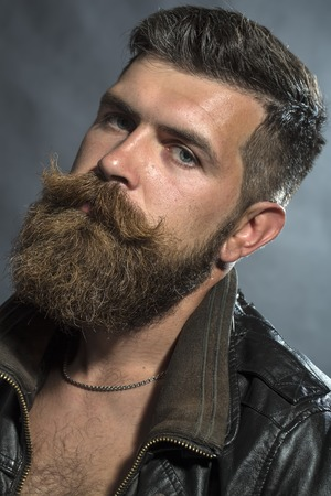 sullen: Portrait of brutal sullen handsome unshaven man with lush beard and moustache in brown leather biker jacket in chain looking forward on grey background, vertical picture