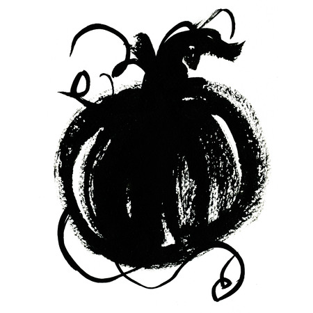 cucurbit: Art freehand watercolor sketch illustration of one black halloween or cinderella pumpkin vegetable on white background, square picture