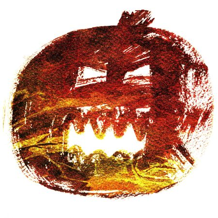 cucurbit: Art freehand watercolor sketch illustration of one brown halloween holiday pumpkin with scary angry face on white background, square picture Stock Photo