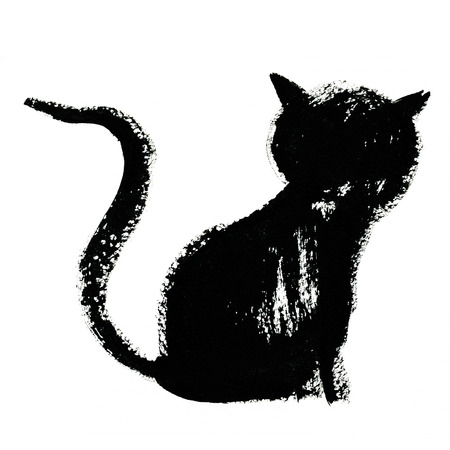 gato negro: Art freehand watercolor sketch illustration of one small black cat with long tail sitting on white background, square picture