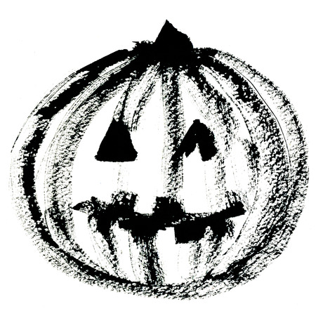 holiday picture: Art freehand watercolor sketch outline illustration of one black halloween holiday pumpkin with scary face on white background, square picture