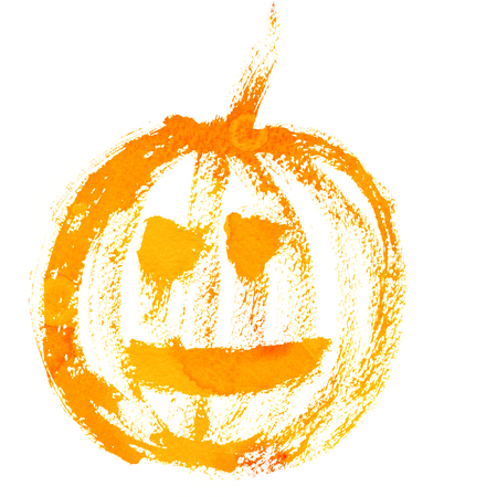 cucurbit: Art freehand watercolor sketch outline illustration of one yellow and orange halloween holiday pumpkin with scary face on white background, square picture