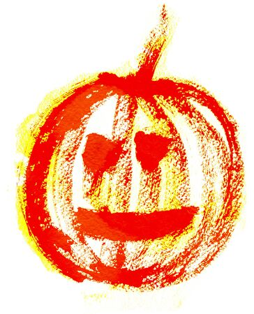 holiday picture: Art freehand watercolor sketch outline illustration of one red and yellow halloween holiday pumpkin with scary face on white background, square picture