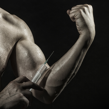 Closeup Of Muscular Male Wet Arm Of Young Athlete Man With Big ...