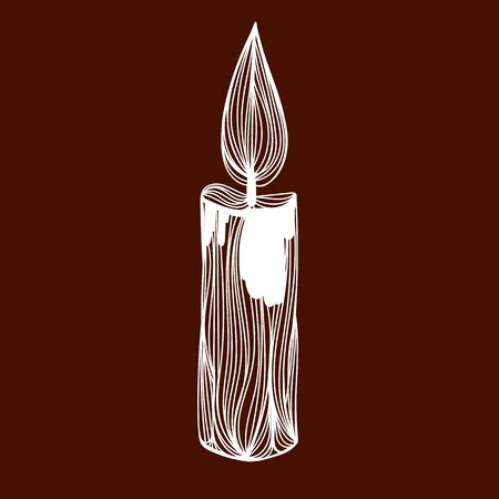 Vector illustration of one drawn from white lines burning illuminating small paraffin wax candle full length standing on brown background, square picture
