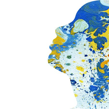 colour splash: Abstract raster watercolor hand drawn posrtrait illustration of girl in profile filled with mix of blue yellow oil paints with stains on white background copyspace Stock Photo