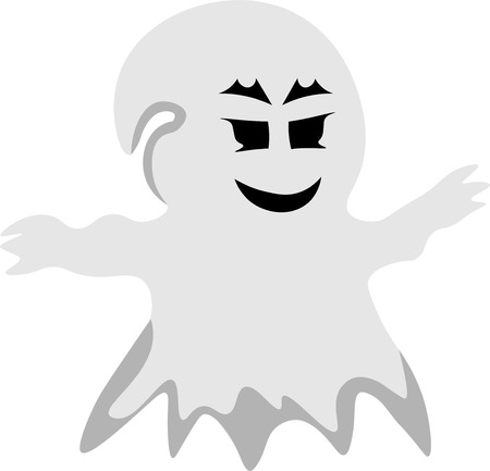 spooky eyes: Vector full length illustration of one drawn grey color spooky phantom with black andry eyes as halloween holiday symbol on white background Illustration