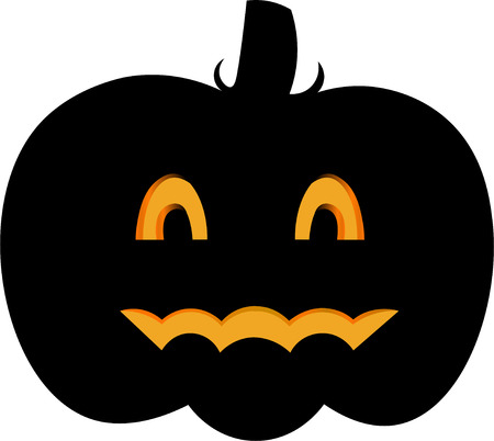 cinderella pumpkin: Vector colorful illustration of one drawn bright black color pumpkin with orange eyes and mouth as halloween holiday symbol on white background