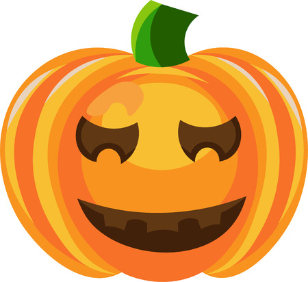 cinderella pumpkin: Vector colorful illustration of one drawn bright orange green and yellow colors pumpkin with black eyes and mouth as halloween holiday symbol on white background