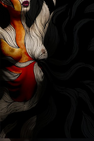topless women: Beautiful naked female body with abstract colorful watercolor painted illustration orange and red mixed colours bodyart of young girl on black background, vertical picture