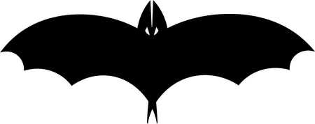 horrify: Vector silhouette illustration of one drawn black color flying  man with big wings and eyes as halloween holiday symbol on white background