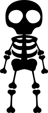 full length: Vector silhouette full length illustration of one drawn black color standing human skeleton with bones and round big eyes as halloween holiday symbol on white background Illustration