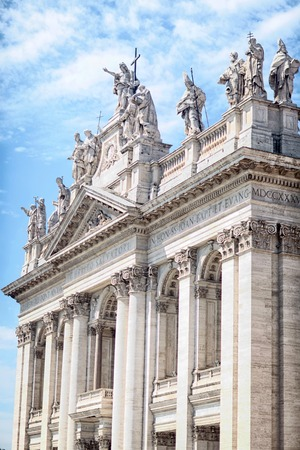 italy:  Basilica of St. John Lateran. The Station was originally called the Basilica of Saint Saviour. The Patriarchal Cathedral of St. John Lateran, Rome. Stock Photo