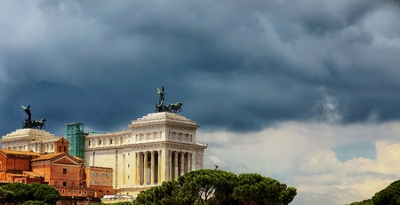 altar of fatherland: The Altar Of The Fatherland. II Vittoriano. Piazza Venezia. Panoramic view. Rome. Italy.