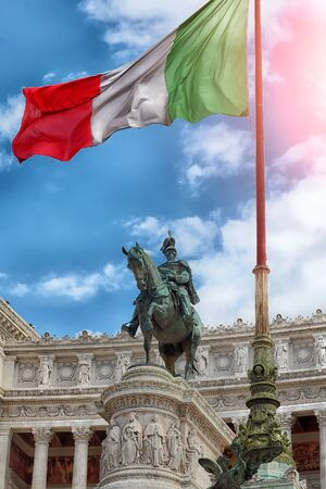 altar of fatherland: Monument Vittorio Emanuele II or Altar of the Fatherland with national flag in Roma, Italy.