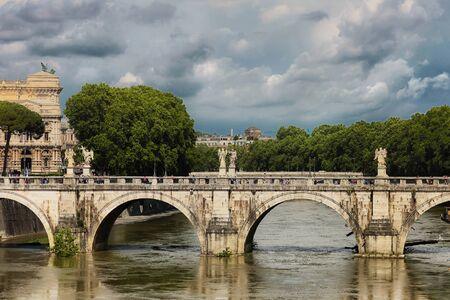 pons: Ponte SantAngelo, once the Aelian Bridge or Pons Aelius, meaning the Bridge of Hadrian, is a Roman bridge in Rome, Italy