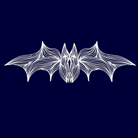 one animal: Vector illustration of one drawn from many white lines halloween holiday symbol animal of flying bat on dark blue background