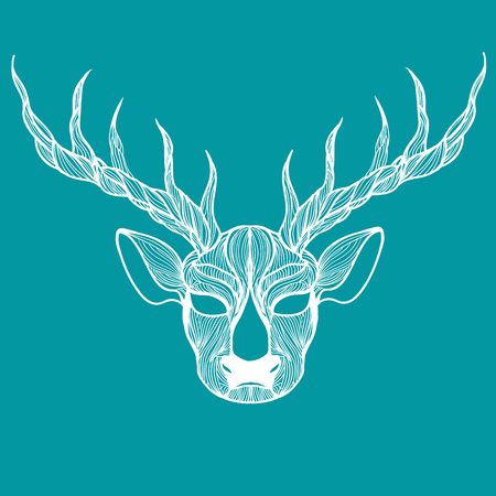 horny: Vector illustration of one drawn from many white lines forest wild animal of deer head with antlers on blue background