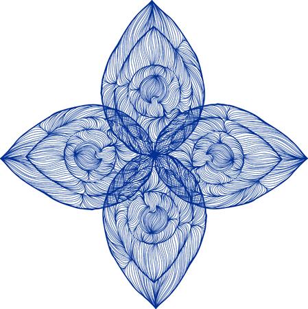 Vector illustration d'un tiré de nombreuses lignes bleues fleur abstraite symétrique à motif à quatre pétales sur fond blanc Vecteurs