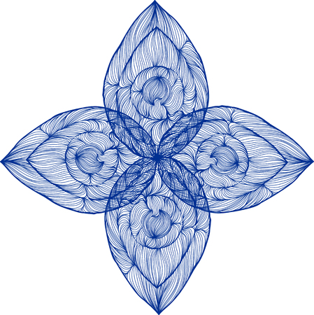 Vector illustration of one drawn from many blue lines abstract patterned symmetric flower with four petals on white background Ilustração