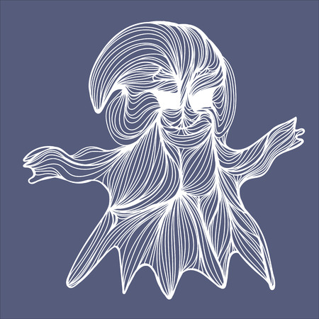 holiday symbol: Vector illustration of one drawn from many white lines halloween holiday symbol of ghost on grey background