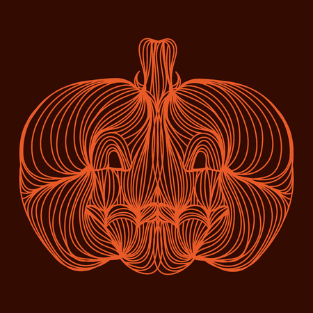 food art: Vector illustration of one drawn from orange lines halloween holiday pumpkin or cinderellas vegetable on brown background