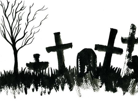 Kunst uit de vrije hand waterverfschets schets illustratie van enge graf kale boom zwarte halloween vakantie en kruisen op begraafplaats op een witte achtergrond, horizontaal beeld Stockfoto