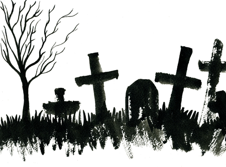 Art freehand watercolor sketch outline illustration of black halloween holiday scary grave bare tree and crosses on graveyard on white background, horizontal picture