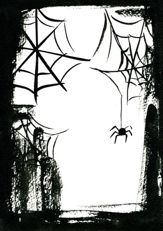 sullen: Art freehand watercolor sketch outline illustration of black halloween holiday scary spider with web on white background of empty frame, vertical picture