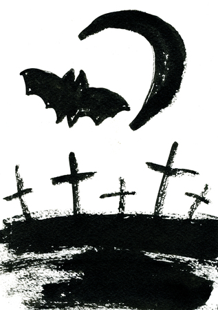 sullen: Art freehand watercolor sketch outline illustration of black halloween holiday scary flying bat crosses and moon on graveyard on white background, vertical picture Stock Photo