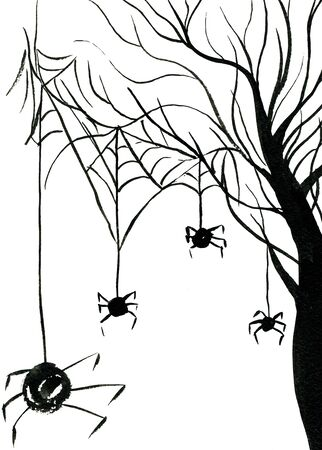 sullen: Art freehand watercolor sketch outline illustration of black halloween holiday scary spiders on web hanging on bare tree on white background, vertical picture