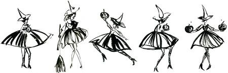 calabaza caricatura: Arte a pulso bosquejo de la acuarela contorno ilustración, collage de cinco negro de Halloween símbolo de vacaciones charackter de bruja divertida en traje y sombrero con las calabazas y la escoba en el fondo blanco, horizontal Foto de archivo