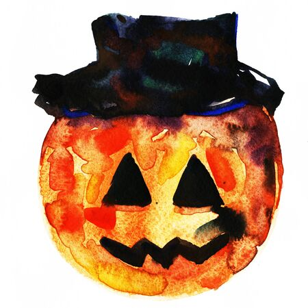 cucurbit: Art freehand watercolor sketch outline illustration of one orange and brown halloween holiday pumpkin with funny face in black hat on white background, square picture